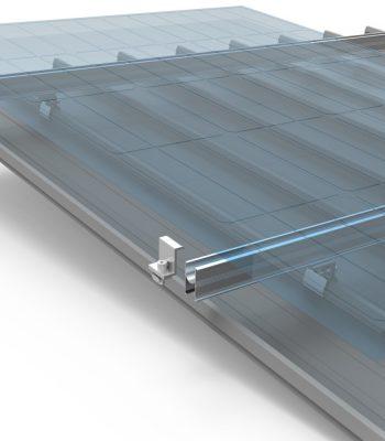 Claw with H rail on kliplok seam roof