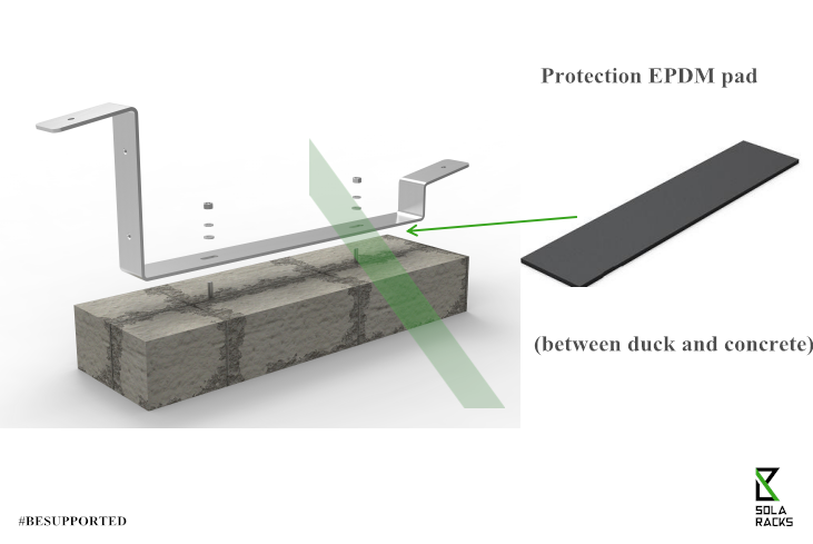 flat roof mounting system, ballast roof mounting system, ballast flat roof mounting structure, ballast flat roof racking, rail-free ballast mounting system, rail-less ballast mounting system, Solaracks Duck ballast mounting system