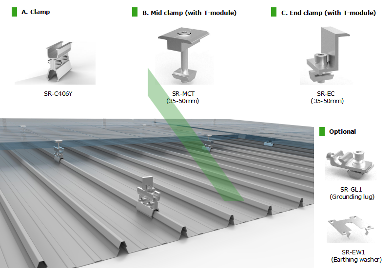lock seam roof mounting system, customized seam roof mounting system, round seam mounting system, lysaght kliplok roof mounting system, stramit speed deck clamping system, fielders kingklip roof clamping system, sanko grip deck clamp system, duro ecodek clamp system, spandek clamp system, non-penetrating roof mounting system, standing seam roof clamp system, customized seam roof clamp system