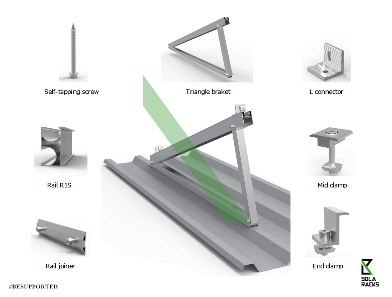Fixed tilt flat roof mount, Fixed angle flat roof mounting system, Triangle mounting system on tin roof, Triangle mounting structure on metal sheet roof, flat roof racking, flat roof mounting system, Delta triangle fixed tilt option, Delta triangle fold design, Fixed tilt Delta triangle, Delta triangle tapping screw option, tripod mounting system