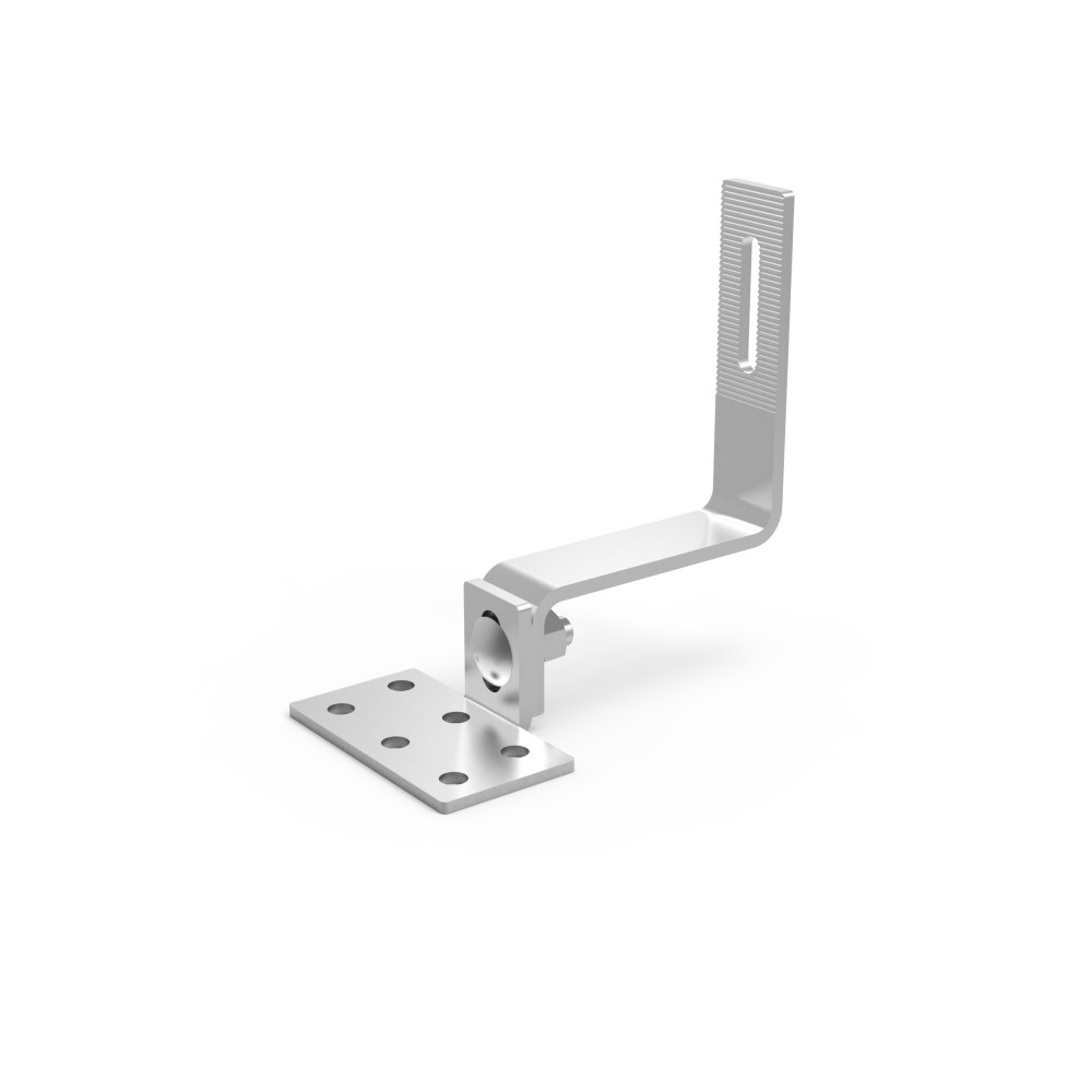Adjustable tile hook for Fixed tilt flat roof mount