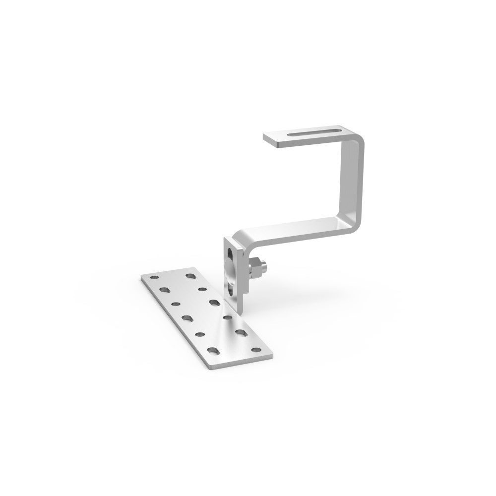 Adjustable height tile hook used in pitched Roof Mounting System
