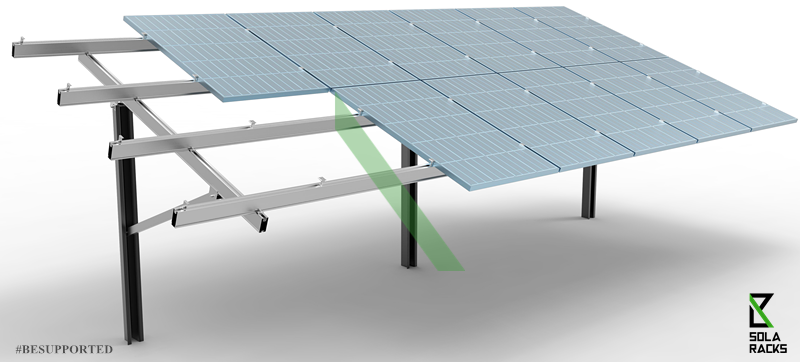 single post foundation mounting structure, pile-driven mounting system, single pile mounting structure, piling mount system, ramming post mounting system, pile driving system, pile driving hammer, driven piling system, utility scale ground mount solar, large scale solar farm, large scale solar installation, Solaracks DE ground mounting system