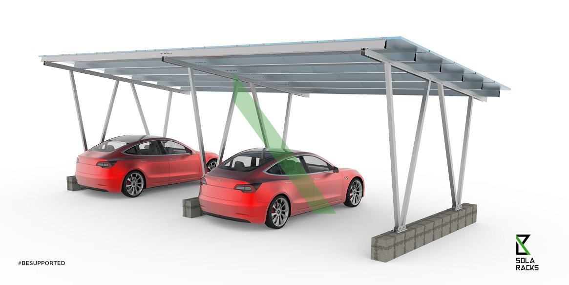 solar canopy, solar carport, solar carpark, solar carport structure, solar carpark structure, EV charging station, charging station, electric vehicle charging, Solaracks Canopy mounting system